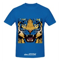 RTTMALL Casual Short Sleeve Men t shirts Screw Neck Tiger Face Young Teenager T-shirt Wholesale Large Size Animal Printed Shirts