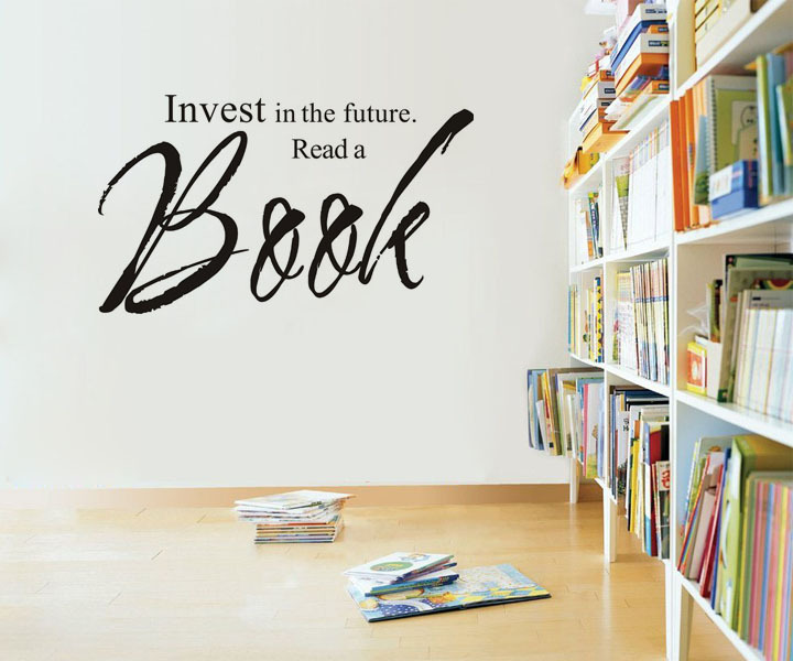 invest in the future read a book wall decal sticker quotes living