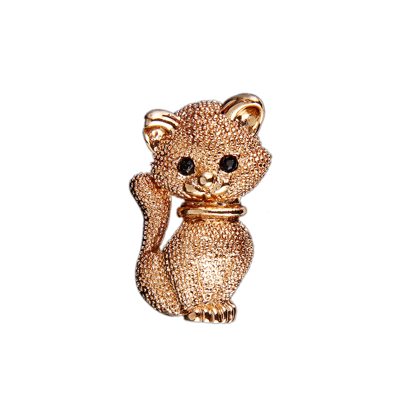 Fashion Cute Little Gold Cat Brooches Pin Up Jewelry For Women Scarf Suit Clips Corsages Brand Bijoux Brooch