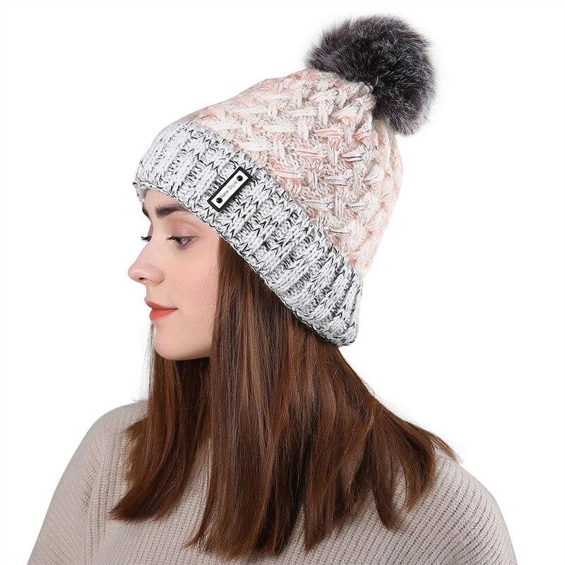 Double Layer  Women Skullies Beanies Knitted Wool Fur Pompon Hats Female Winter Braid Ladies Cap Headgear