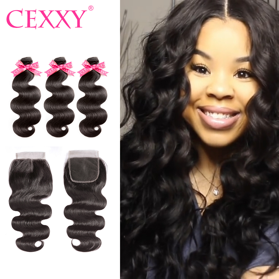 CEXXY 8A Human Hair Bundles With Closure Brazilian Hair Weave Bundles Body Wave Human Hair Virgin
