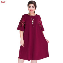 KLV Splice Loose Lace Summer Dresses Plus Size Women Knee-Length Office Dress
