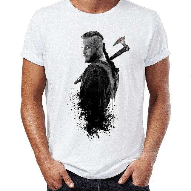 Mens White King Ragnar Lodbrok T Shirt Norse Warrior Vikings TV Series T-Shirt