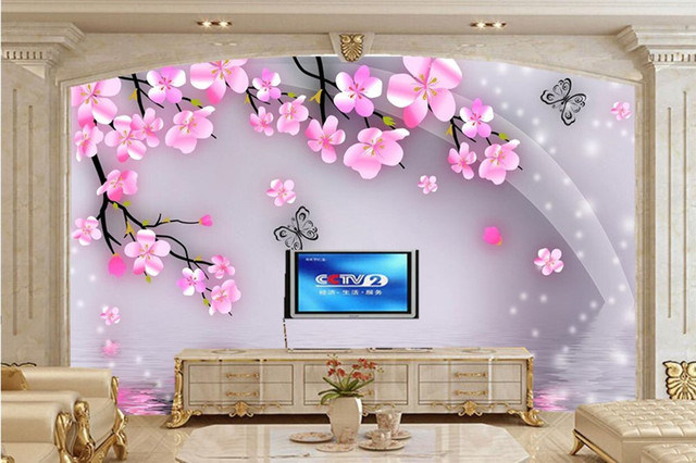 Large murals gorgeous cherry fantasy flower butterfly for Butterfly mural wallpaper