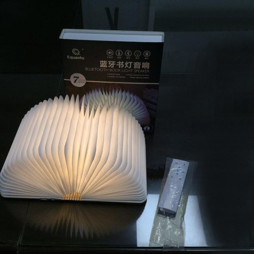 livro de madeira musica lampada controle remoto rgb led night light sem fio bluetooth alto falante