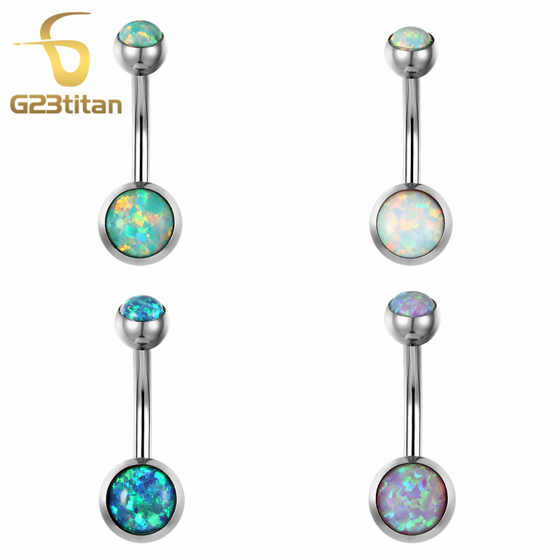 G23titan New Bellybutton Piercing Brann Opal Navel Rings 1.6G G23 Titanium Bell Button Ring Piercing Ombligo Smykker