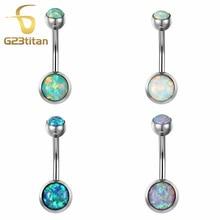 New Bellybutton Piercing Fire Opal Navel Rings 1.6G G23 Titanium Bell Button Ring Piercing Ombligo Jewelry