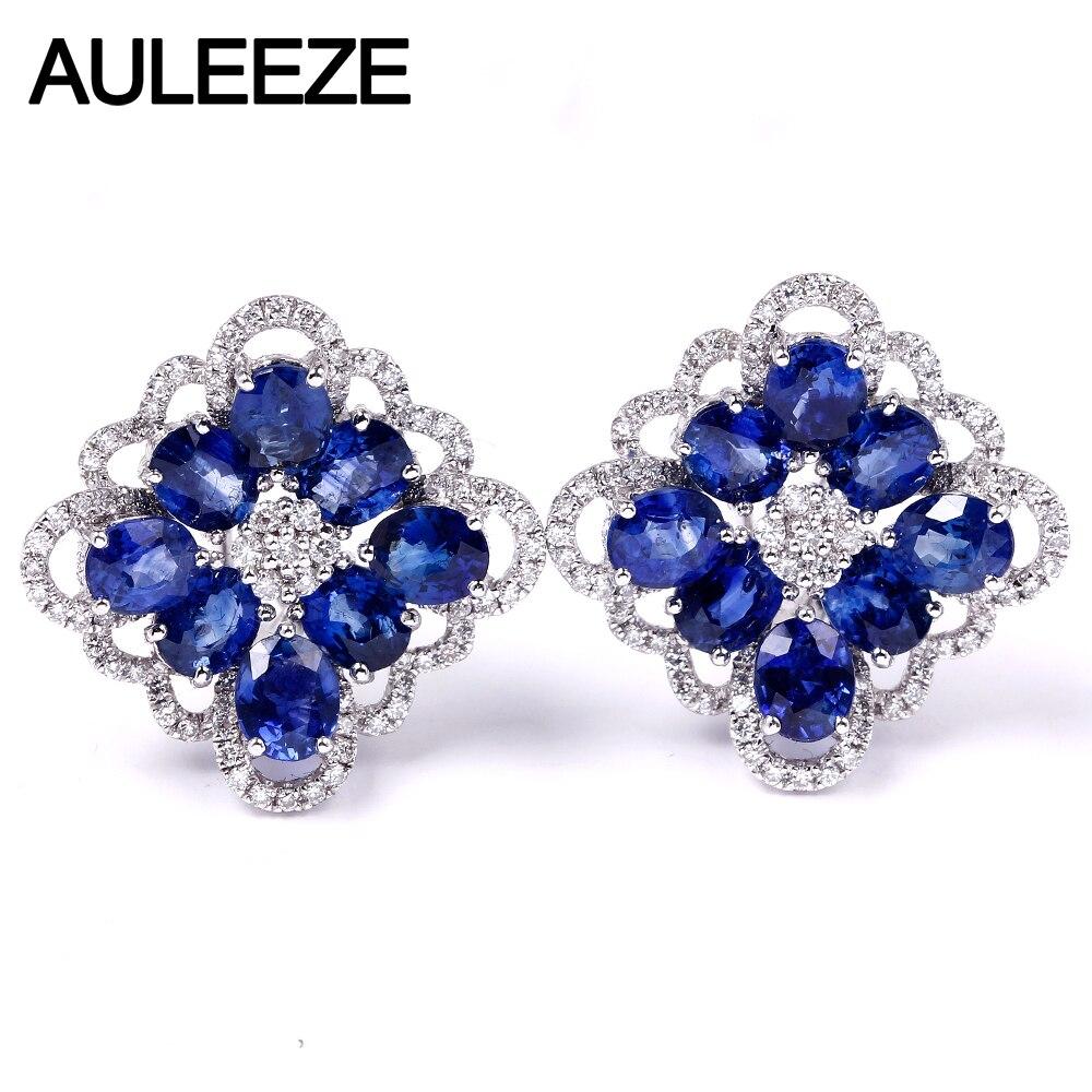 AULEEZE 4.1 cttw ovale coupe saphir naturel Clip boucles d'oreilles 18 K or blanc véritable diamant boucles d'oreilles pour femmes bijoux de pierres précieuses de luxe