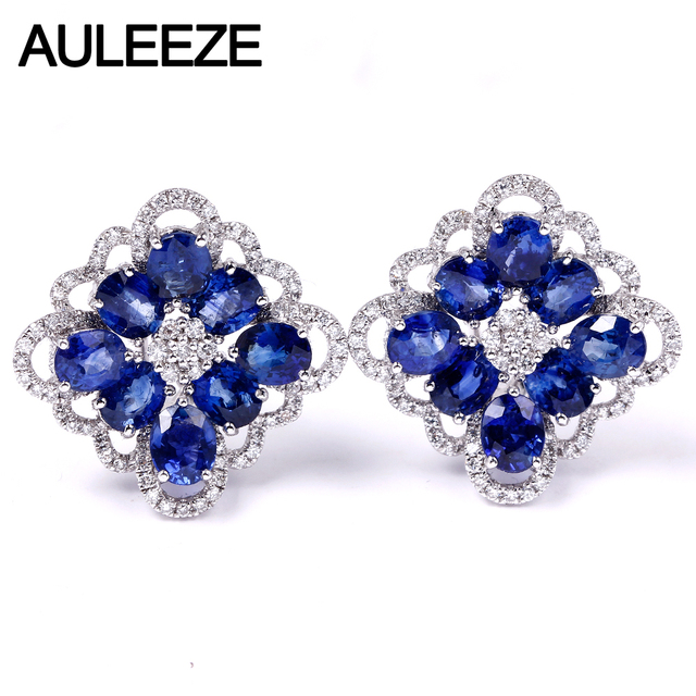 AULEEZE 4.1cttw Oval Cut Natural Sapphire Clip Earrings 18K White Gold Real Diamond Earrings For Women Luxury Gemstone Jewelry