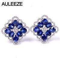 Auleeze 4.1 cttw овальным вырезом Природный сапфир Клипсы 18 К Белое золото Настоящее Серьги с алмазами для Для женщин Роскошные Ювелирные изделия