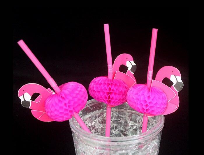 25pcs Flamingo on Paper Straws Red For Kids Birthday Party Wedding Bar Swimming pool Hawaiian Luau Drinking Straws