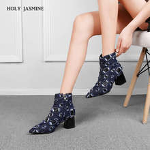 2019 New Autumu/winter Women Ankle Boots Print Broken Denim Pointed Toe Square Heel High Heels Fashion Ladies Martin Boot Shoes msfair women boots 2018 hot selling crystal ankle boots women shoes pointed toe high heel boot shoes square heel boots for girl