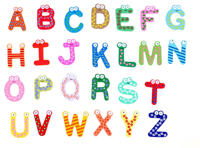 2 lots of 26 pcs of English Letter Alphabet Learning Kids Educational Toy Wood Letters Cartoon ...