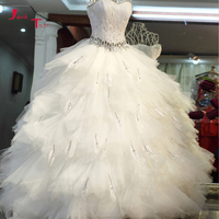 Jark Tozr 2018 New Design Lace Up Shiny Crystal Feathers Gorgeous Ball Gown Wedding Dresses With