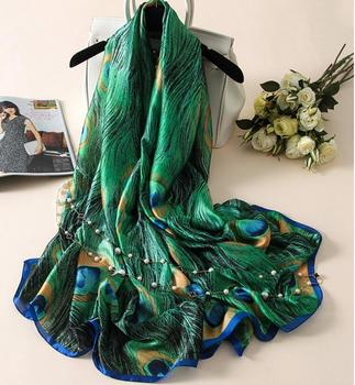 Silk Scarf Women Print Scarf Flower,Birds,leaf,chains, 100% Natural Silk Wraps Shawls and Scarves 180*90cm Hijabs