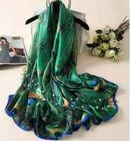 Silk Scarf Women Print Scarf Flower,Birds,leaf,chains, 100% Natural Silk Wraps Shawls and Scarves 180*90cm Hijabs