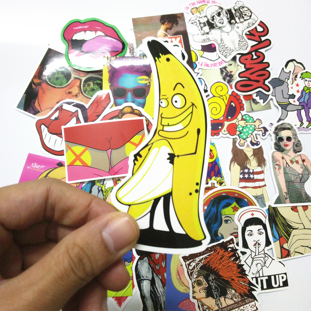 Stickers Mix Style funny adult  Cartoon Decal Fridge Doodle Snowboard Luggage Decor  Brand Car Bike Moto Toys CT-SP02