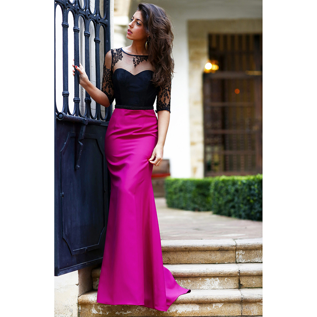 a29375950edc Elegante mermaid abiti da sera con maniche di pizzo nero e fucsia raso  vestito convenzionale lungo