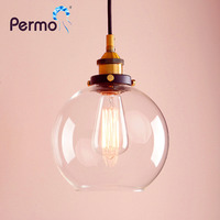 7 9 Pendant Light Vintage Industrial Loft Cafe Clear Glass Shade Ceiling Lamp E27 Lamp Base