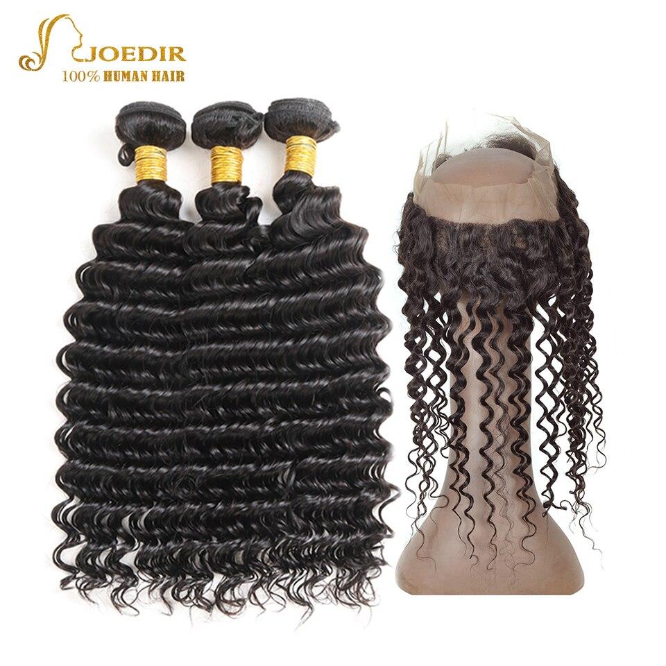 Joedir Deep Wave Human Hair Bundles Med 360 Spets Frontal 3 Bundlar - Skönhet och hälsa - Foto 1