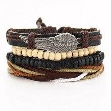 1 комплект(3 шт) 4 шт Плетеный Регулируемый популярный кожаный браслет манжета женский мужской повседневный ювелирный браслет