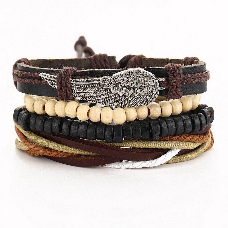 1 Set (3 Stuks) 4 Pcs Gevlochten Verstelbare Populaire Lederen Armband Manchet Vrouwen Mannen Casual Sieraden Armband Armband