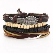 4 шт плетеные кожаные браслеты для мужчин и женщин 1 комплект