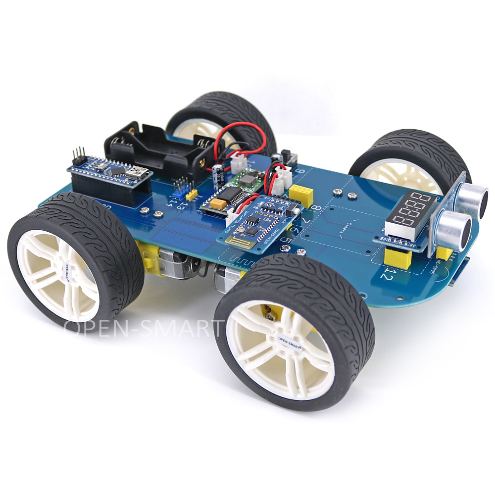 Easy Plug 4WD Serial Bluetooth Control Rubber Wheel Gear Motor Smart Car X Kit With Tutorial For Arduino Nano / UNO R3/ Mega2560