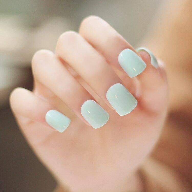 High quality pure color series Light green color false nails set ...