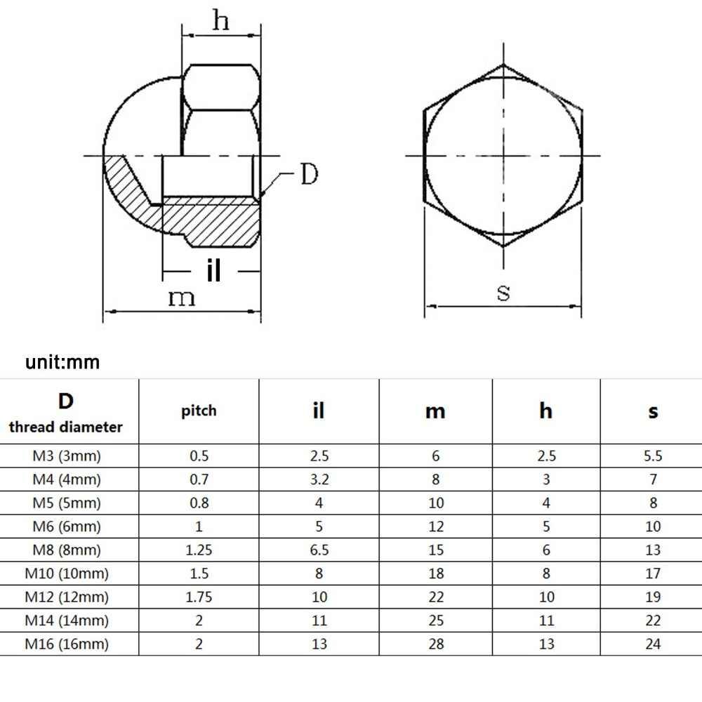 Alta qualidade m3 m4 m5 m6 m8 m10 m12 m14 m16 304, 1/peças tampa de porca hex de aço inoxidável A2-70, porcas de capa decorativa, domo