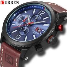 Nova marca de Moda de Quartzo dos homens Relógio Cronógrafo Dial e Janela de Data Business Casual relógio de Pulso CURREN Relógio de Couro Para O Homem
