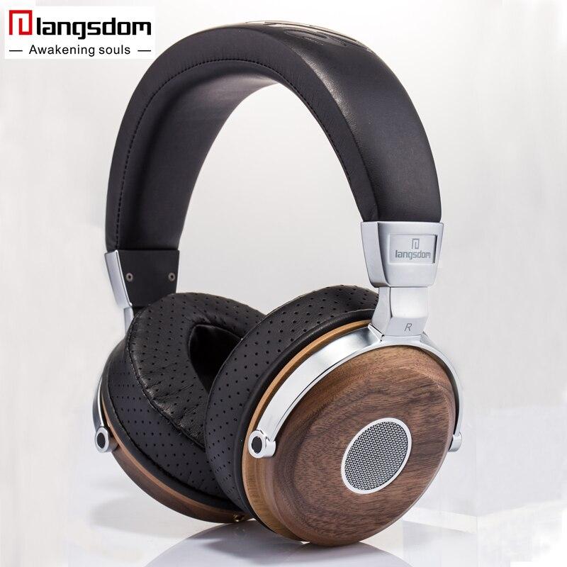 Langsdom FA890 Hifi En Bois Casque 3.5mm Dynamique Musique Écouteur D'oreille En Cuir Doux-tasses Isolation Phonique Casque pour Téléphone PC