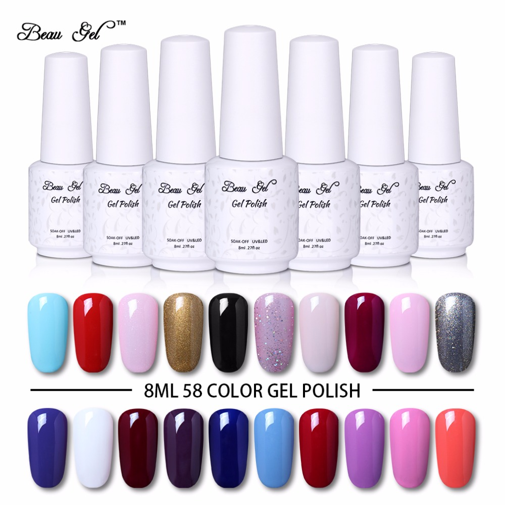 Beau Gel Hot Color Series 8 ml Gel de uñas semipermanente UV LED Polaco Gel de larga duración Soak Off Vernis Ongle Pro Nail Decorations
