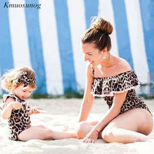 Swimsuit Mother Daughter 2019 Leopard Sexy Bodysuit Beachwear mae e filha Family Look mom daughter Mommy and me swimsuit C0321