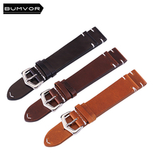цена на 100% calf leather strap 18mm 20mm 22mm 24mm high-end retro strap leather unisex fashion watch  strap