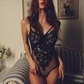 Bodysuit Mulheres 2017 Lace Sheer Malha Bandage One-Piece Lace Bralette Bustier Bodysuit Triângulo Macacões combinaison femme #23