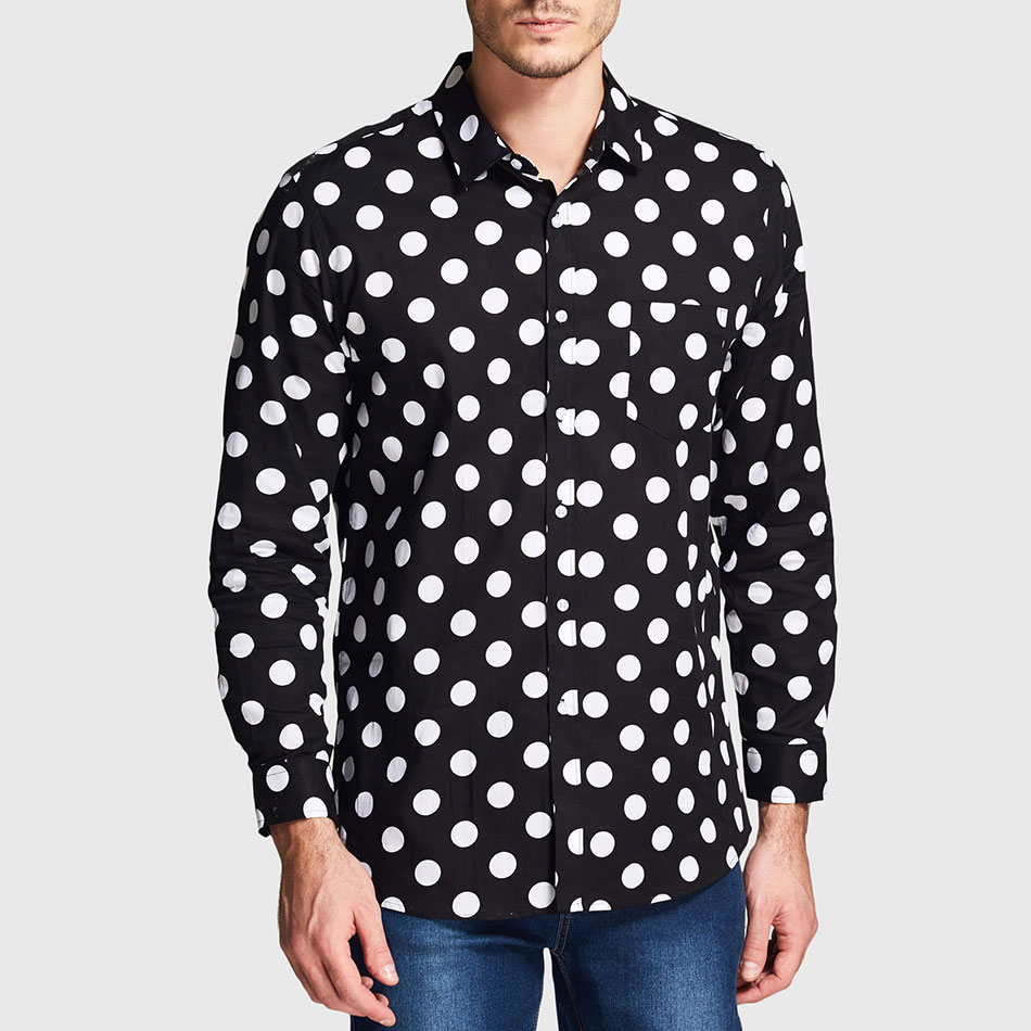 Popular Black White Polka Dot Shirt Men-Buy Cheap Black White ...
