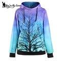 [Você é Meu Segredo] Novo Roxo Degradê Azul Árvore de Impressão Digital de Mulheres Moletom Com Capuz Inverno da Longo-Luva o-pescoço Sudaderas
