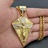 Men's Necklace Big Jesus Cross Pendant & Chain Mens Gold Color Stainless Steel Crucifix Necklaces Male Iced Out Bling Jewelry