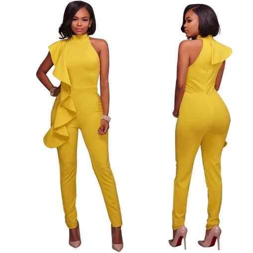 Комбинезоны с одним плечом 2018 осенние вечерние комбинезоны с рюшами Клубные зауженные длинные брюки комбинезоны черный желтый комбинезон женский комбинезон WF198