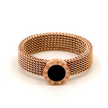 Fashion Roman Number Round Rings Rose Gold Color Stainless Steel Mesh Chain Ring for Women Jewelry
