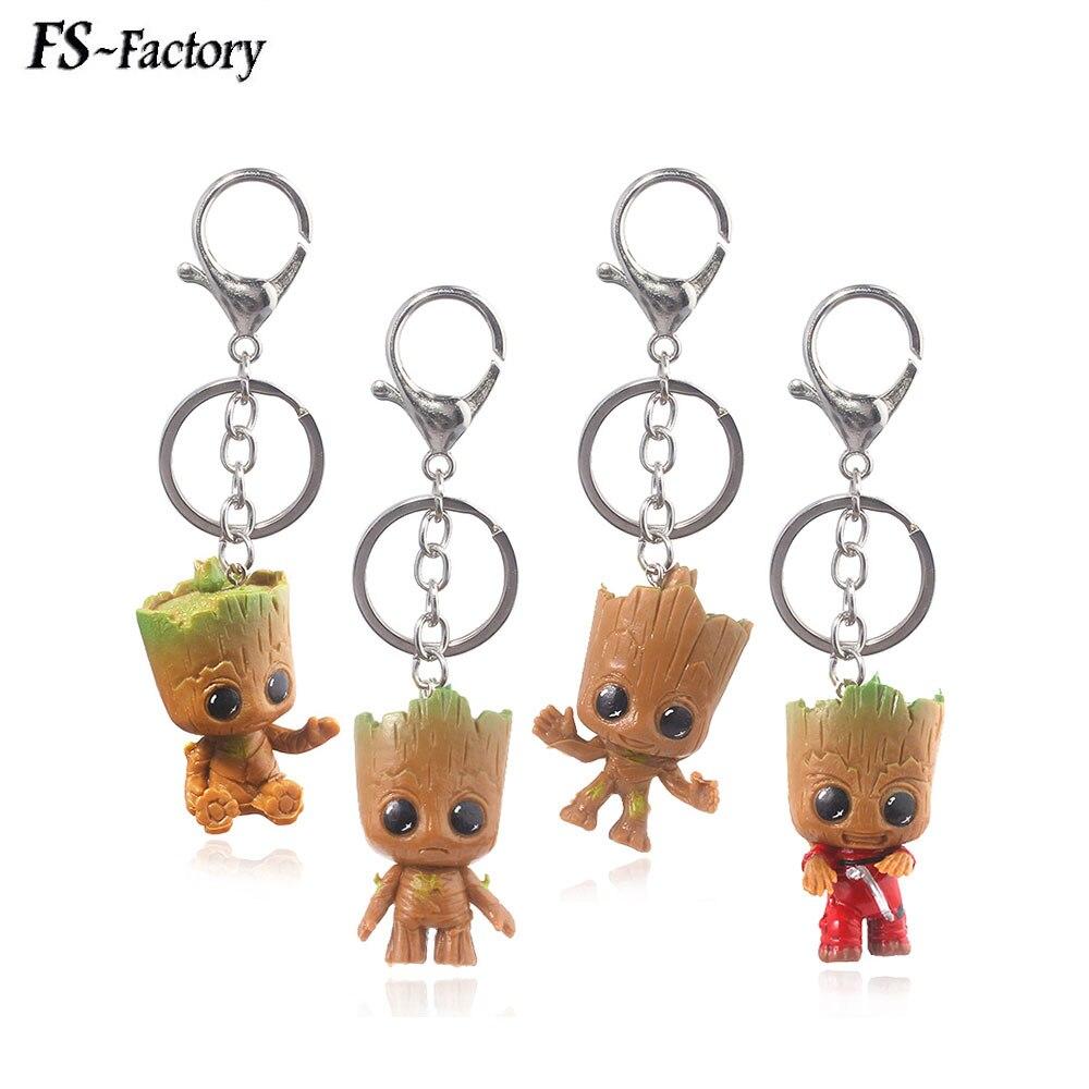 Atacado 4 pcs Guardiões da Galáxia Groot homem Árvore Brinquedos Vingadores Keychain Bonito Groot Maceta Chave Saco Cadeia Pingente de Presente Da Jóia