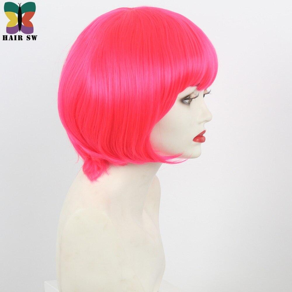 Σύντομη ρόδινη ζεστή ροζ περούκα - Συνθετικά μαλλιά - Φωτογραφία 4
