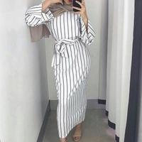 long vestidos Striped flared sleeve dress Maxi casual women dress