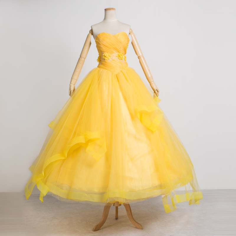 2017  Beauty and the Beast movie costume Princess Belle adults cosplay Belle costume yellow dress Movie cosplay Custom made