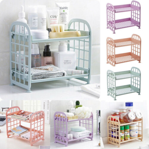 Plastic Storage Shelves 2 Tier Freestanding Durable Unit Indoor Garage Kitchen Bathroom Dressing Bath Supplies Plastic Shelves