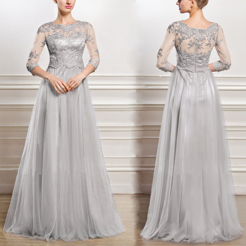 BacklakeGirls 2019 Gray Tulle Mother Of The Bride Dresses Three Quarters Sleeves  A Line Scoop Neck Appliques Women For Weddings
