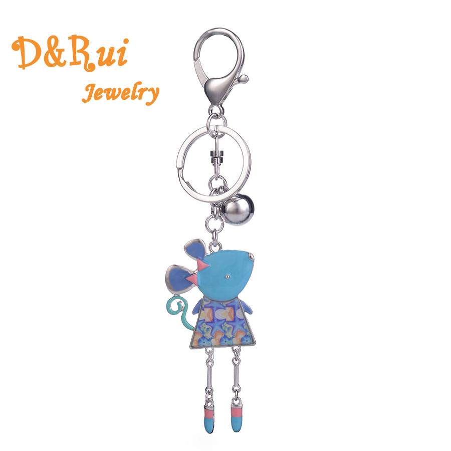 Enamel Key Chains For Women&Girl Zinc Alloy Animal Mouse Pendant Keychain Fashion Key Ring Chain Vintage Jewelery 2019 Brand