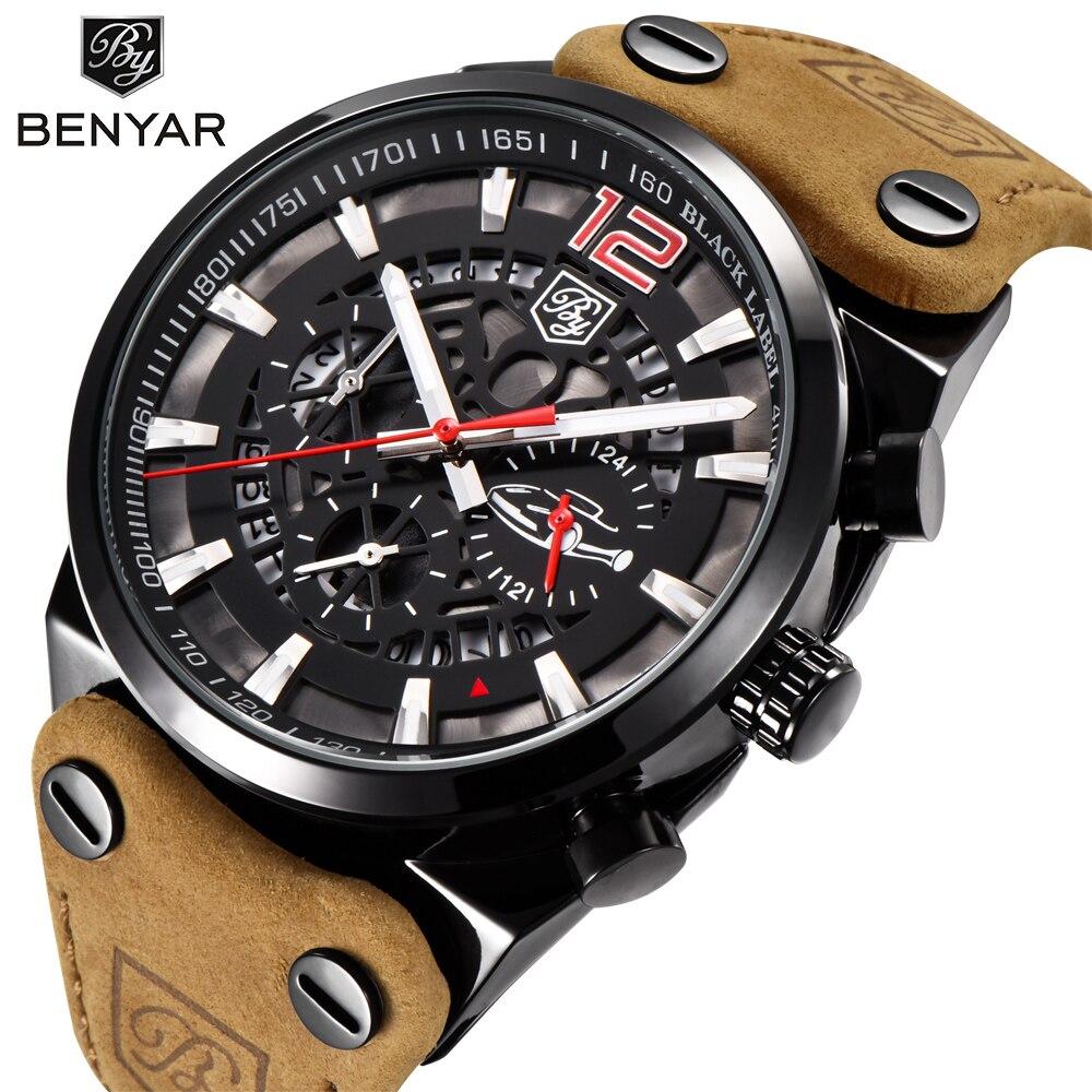 BENYAR Luxus Marke Chronograph Sport Herren Uhren Mode Militär Wasserdichte Leder Quarzuhr Uhr Männer Relogio Masculino