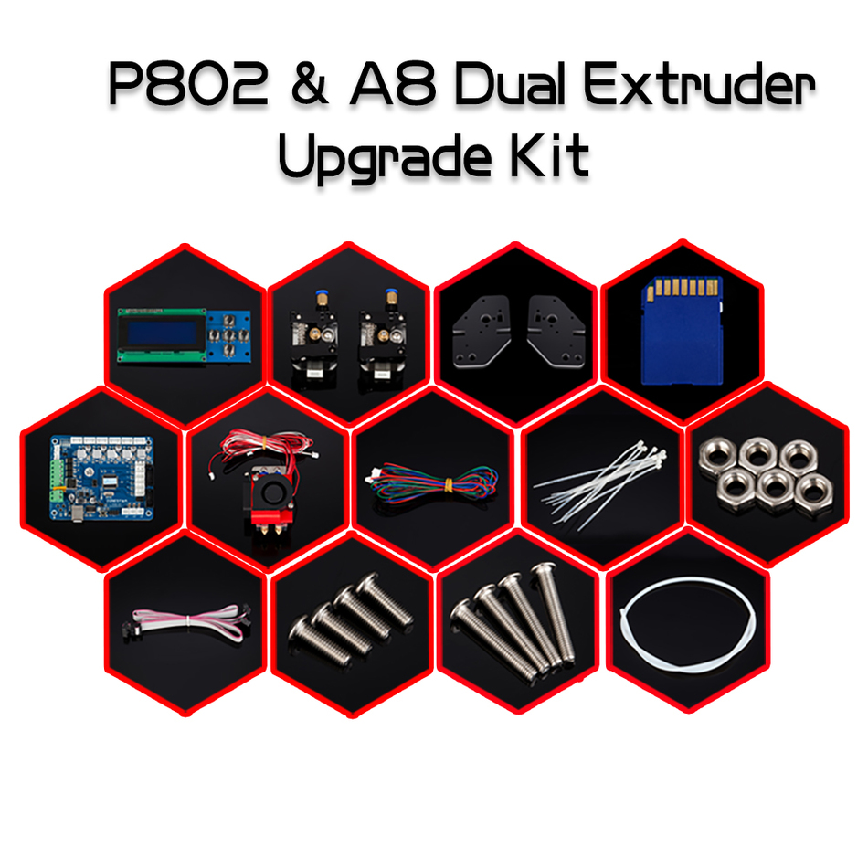 ФОТО New Arrival 3D Printer Dual Extruder Upgrade Kit for Zonestar P802N P802M P802Q P802QS Two Color printing Bowen extruder